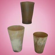 Horn Beakers Nineteenth Century group of 3 Set B