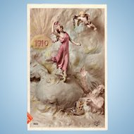 Art Nouveau New Year Postcard Mastroianni  1910