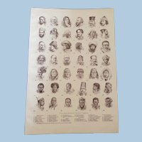 """Typical Heads of Mankind Engraved Print 1900 - 12"""" x 8. 1/2"""""""