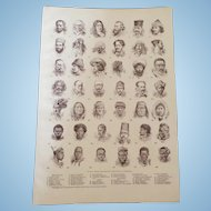 "Typical Heads of Mankind Engraved Print 1900 - 12"" x 8. 1/2"""