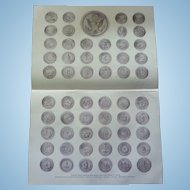 "National, State and Territorial Seals of the United States of America half tone print 1900. 17"" x 12"""