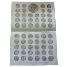 """National, State and Territorial Seals of the United States of America half tone print 1900. 17"""" x 12"""""""