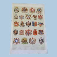 """National Coats of Arms Chromo Lithograph Print 1900.  12"""" x 8. 1/4"""""""