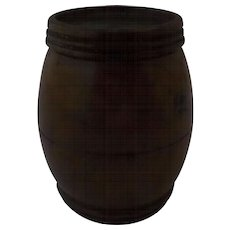 Thimble Holder Turned Coquilla Nut Barrel Shape Nineteenth Century