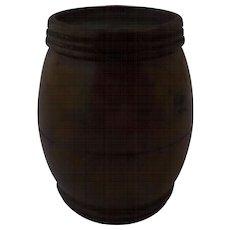 Thimble Holder Turned Coquilla Nut Barrel Shape Nineteenth Century