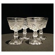 Set of Four Pressed Glass Cocktail Stems c1930s