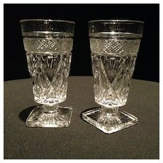 Set of Pressed Glass Footed Tumblers