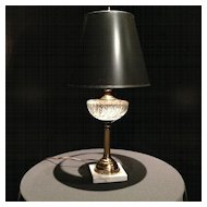 Vintage Table Lamp Cut Glass with Brass Accents