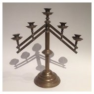 Vintage Brass Five Arm Altar Candelabra