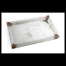 Vintage Mirror Tray with Twisted Glass Columns & Brass Accents