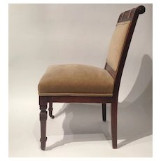 Antique Armless Chair on Castors Newly Upholstered