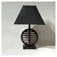 Table Lamp with Antique Iron Machine Wheel