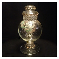 Pressed Glass Lidded Jar with Floral Decal & Gold Leaf Accents