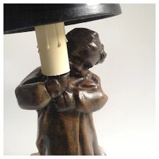 Spelter Figural Lamp by French Sculptor Mednat