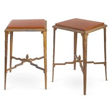 Pair of 1920s French Metal & Wood Side Tables