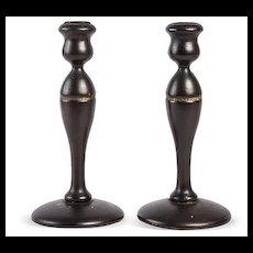 Pair of Vintage Wood Candle Sticks