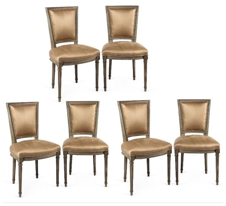 Set Of Six Circa 1900 Louis Xvi Style Neo Classical Dining Chairs