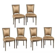 Set of Six circa 1900 Louis XVI-Style Neo Classical Dining Chairs