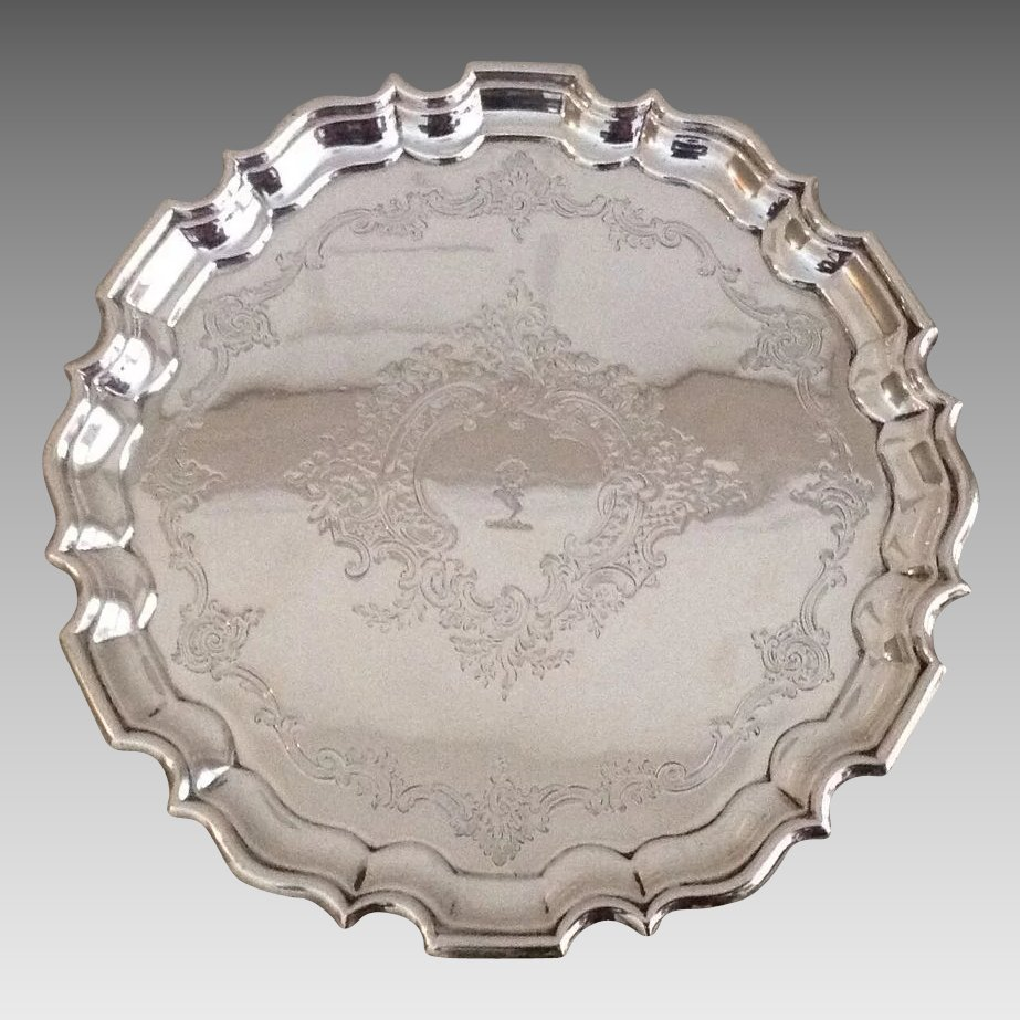19th Cent British Sterling Silver Tray By Thomas Bradbury
