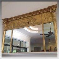 19th century American or English over mantel mirror