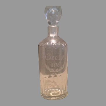 American diminutive glass decanter dated 1876