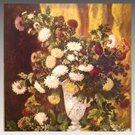 19th cent. signed and dated French floral still life oil painting