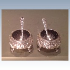Pair of 19th cent. American coin silver salt cellars w spoons