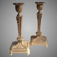 Mid 19th c. French bronze dore candlesticks