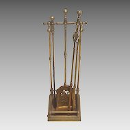 19th cent. Brass Fireplace Set