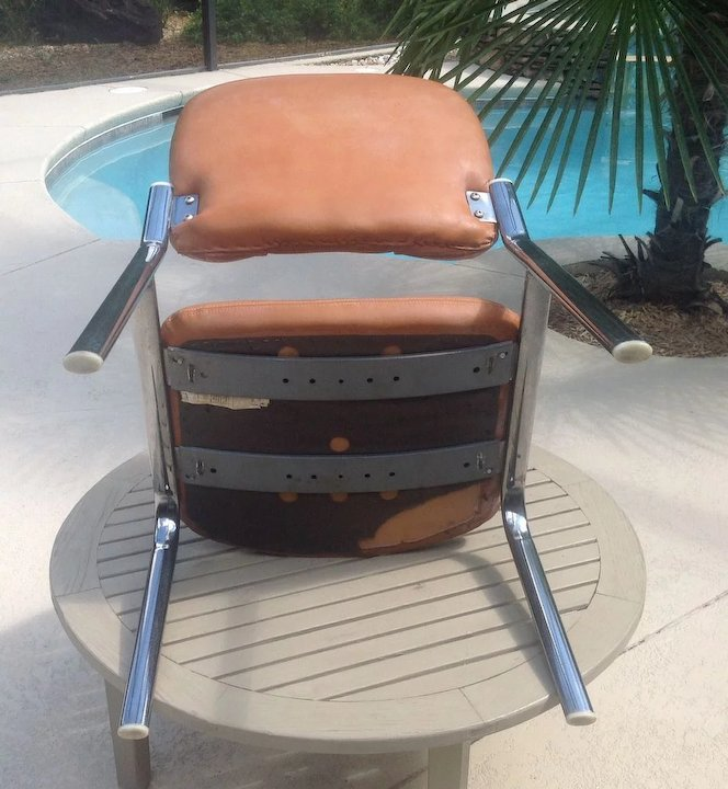 retro leather and chrome chair edwin c skinner ruby lane