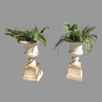 19th c. Cast Iron Garden Urns
