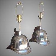 20th c. Scandinavian Helmet Lamps