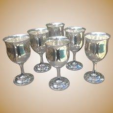 Set of 6 Sterling Reed & Barton Goblets