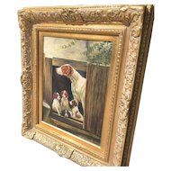 Early 20th C. American Painting of Dogs