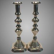 19th C. English Brass Candlesticks