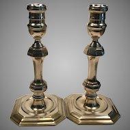 Mid C. English Brass Candlesticks
