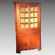 18th C. American Walnut Corner Cupboard