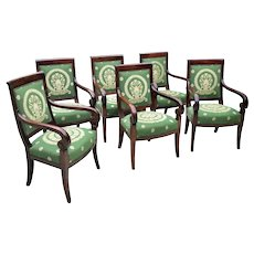 Set of 6 Early 19th C. French Arm Chairs