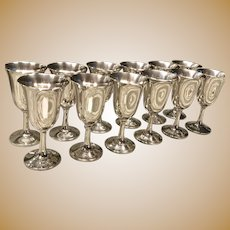 C. 1950 American set of 12 Sterling Goblets