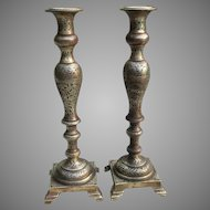 C. 1900 Large European Brass Candlesticks