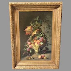 Mid 19th C. Belgian Still Life Oil Painting