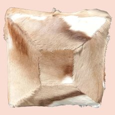 20th C. Hide and faux leather covered pillow