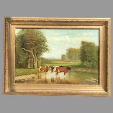 19th C. Clinton Loveridge Oil Painting of Cows
