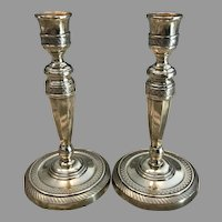 Early 19th C. Pair French Brass Candlesticks