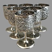 Early 20th C. Set of Six English Sterling Goblets