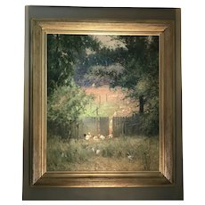 Early 20th C. Frederic Mortimer Lamb Oil Painting