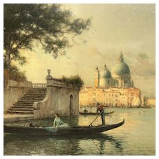 Early 20th C. Antoine Bouvard Oil Painting of Venice