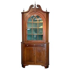 19th C. American Cherry Corner Cupboard