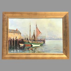 Mid 20th C. Cappy Amundsen Harbor Scene Oil Painting