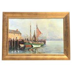 Mid 20th C. Cappy Amundsen Harbor Scene Oil Painting